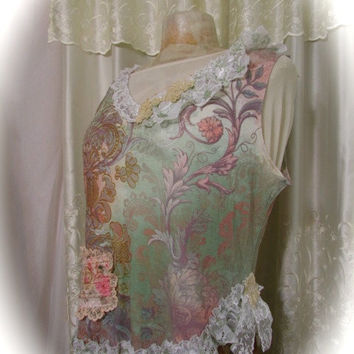 Romantic Shabby Top, victorian cottage Paris, altered couture, refashioned womens clothing, soft rose garden pastels, MEDIUM LARGE
