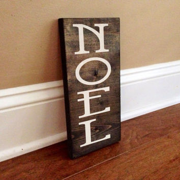 Noel Custom Wood Sign, Custom Christmas Sign, Stained and Hand Painted, Christmas decor