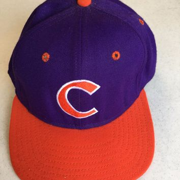 BRAND NEW RETRO CLEMSON TIGERS FLAT BRIM FITTED HAT SHIPPING