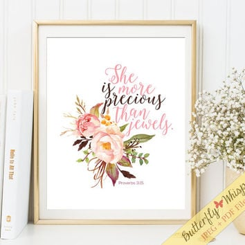 Nursery Bible verse print decor She is more precious than jewels Scripture nursery wall art decor Christian wall art 8 x 10, 11 x 14, 5 x 7