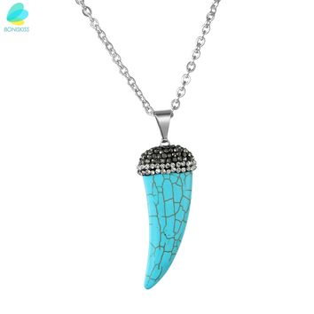 BONISKISS Bling Crystal Accented Pink/black/blue Wolf Teeth Fang Pendant With Chain