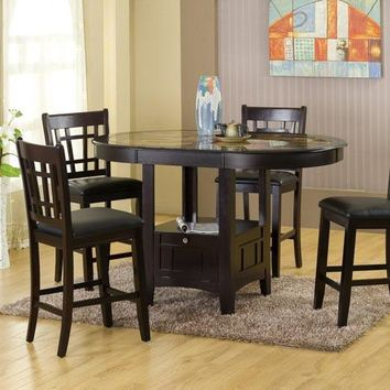 5 Piece Counter Height Dining Set with Storage