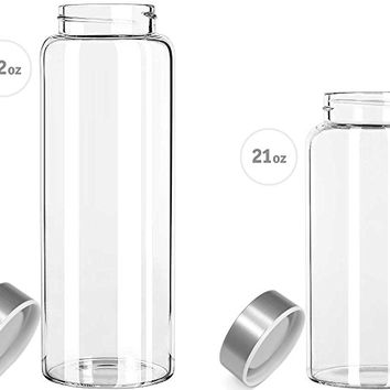 Kablo Glass Water Bottle 32 or 21 oz, 100% Borosilicate Glass