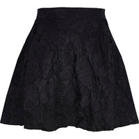 River Island Womens Black floral embossed skater skirt