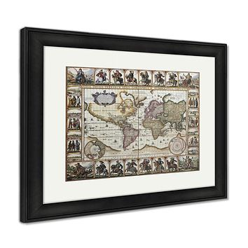 Framed Print, World Old Map