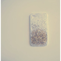 White and Gold Ombre Glitter iPhone 4 case