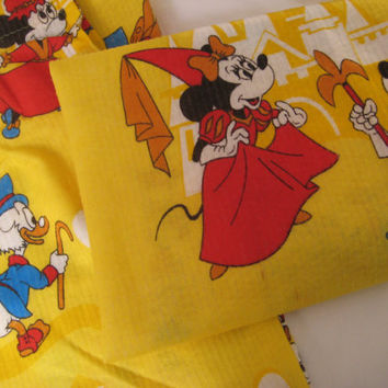 Vintage Disney RARE Mickey Minnie Donald Duck Kids Drapes Disney Curtains Window Pleated Kids Bedding 2 Panels Fabric Kids Decor USED Clean