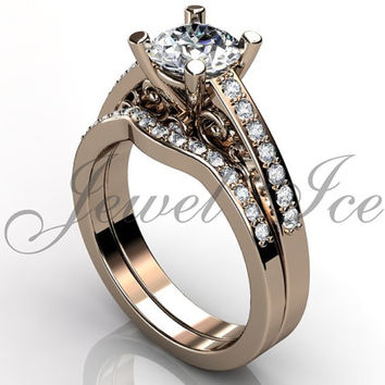 Engagement Ring Set - 14k Rose Gold Diamond Unique Art Deco Filigree Scroll Wedding Band Engagement Ring Set Bridal Set ER-1122-3