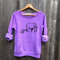 Elephant Print Long Sleeve Sweater