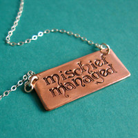 Harry Potter Necklace- Mischief Managed -Copper and Sterling Silver Necklace