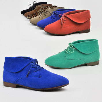 New Women's Cute Ankle Bootie Low Heel Loafer Oxford Lace Up Shoes Boots Forever