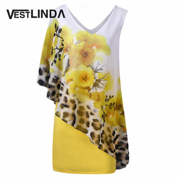 VESTLINDA Novelty Summer Capelet Overlay Dress Floral with Leopard V-Neck Women Party Dresses Sheath Femme Vestidos Mini Dress
