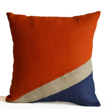 Burlap Pillow Cover -Nautical Pillow -Oceanic Pillow -Orange Blue Pillow -Color Block Pillow -Present -Housewarming -Dorm Decor -All Sizes