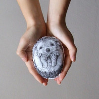 hedgehog soft toy woodland home decor plush black and white mini pillow cute hand painted