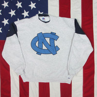 Vintage 1990's University of North Carolina Tarheels Embroidered Crewneck Sweatshirt Large/XL Heather Gray NCAA Basketball Russell Athletic