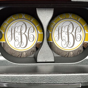Personalized Monogrammed Car Coasters Yellow Quatrefoil Buck Deer Head Camo , Cup Holder Coaster, Custom Gift, Sandstone Coaster