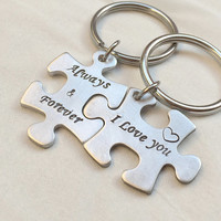 Jigsaw puzzle piece keychain, Silver bridal Gift ideas, I love you Always & Forever, puzzle piece key ring Personalized boyfriend Girlfriend