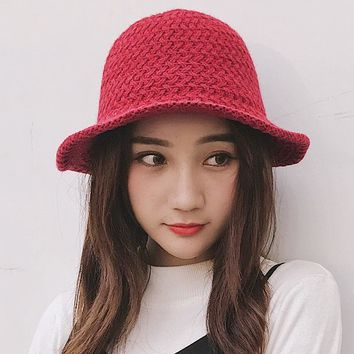 HT1952 New Autumn Winter Wool Hat Women Solid Plain Knitted Hats for Women Female Casual Fishing Fisherman Cap Ladies Bucket Hat