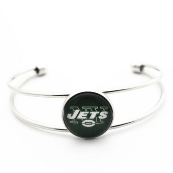 New Style 1pcs Copper Bracelet Glass Print Football Team New York Jets Bangles For Women Men Open Bracelet Fashion Jewelry