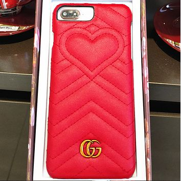 Gucci new tide brand iPhone7 / 8plus phone shell love bubble cortex Apple 6s hard shell X Red