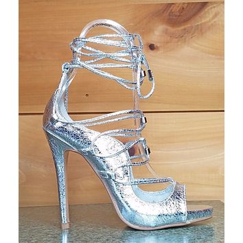 CR Keish Mista Demon Strappy Lace Up High Heel Shoe Crackled Silver