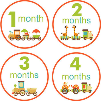 Baby Month Stickers Baby Monthly Stickers Monthly Shirt Stickers Choo Choo Train Baby Shower Gift Photo Prop Baby Milestone Sticker