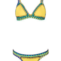 Yellow Crochet Triangle Bikini Top And Bottom
