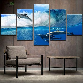 PENGDA Frames 5 Panel Animal Dolphins Decor Pictures Home Decor Paintings On Canvas Posters And Prints Pictures On The Wall