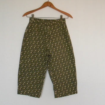 FREE usa SHIPPING Vintage floral pedal pushers pants pants polyester cotton calico fabric size 4