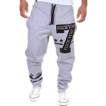 2017 Spring Mens Casual Sweat pants Letters Harem Baggy Fitness Cotton Drawstring Pants Tracksuit Slacks Trousers