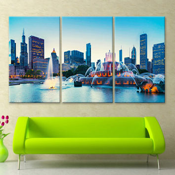 "LARGE 30""x 60"" 3 Panels Art Canvas Print Buckingham Fountain in Grant Park Chicago Wall Home decor interior (framed 1.5"" depth)"
