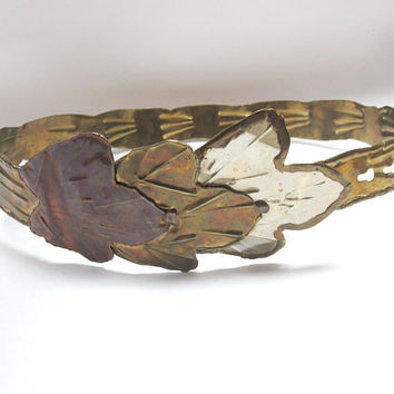 Metal Leaf Belt Gypsy Brass Copper Inlay with Leaves Boho Chic