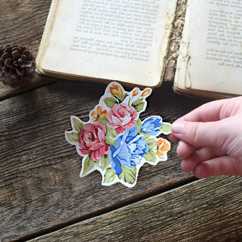 Temporary tattoo Vintage Floral - Flowers, Colourful, Tattoo, Rose, Wild flower, Pink, Blue