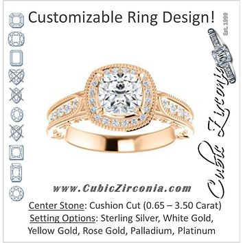 Cubic Zirconia Engagement Ring- The Zöe (Customizable Vintage Cushion Cut Greek Goddess Design)