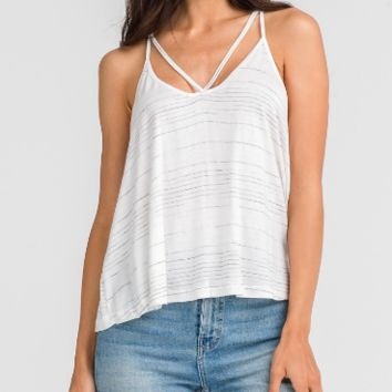 Women's Strappy Tank with Striped Detail