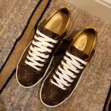Louis Vuitton LV Fashionable Women Print Leather Old Skool Flats Shoes Sneakers I