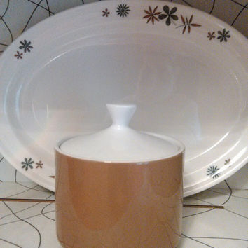 Mid Century Vintage Mikasa Brown Focus Shape Covered Sugar Bowl with Lid