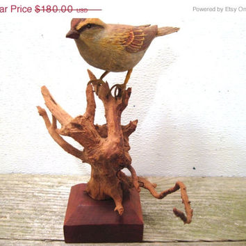 Carved, Wood, English, Sparrow, Sculpture, Mount, Art, Bird, Decor, Hand, Figurine, Wildlife, Lovers, Wild, Wooden, Carving, Home, Gift, 4H