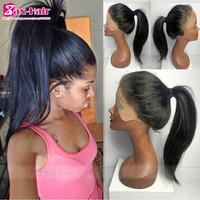 Human Hair Glueless Full Lace Wigs Silky Straight Lace Front Wig Virgin Brazilian Human Hair Lace Wigs For Black Women Long SALE