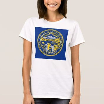 Women T Shirt with Flag of Nebraska State