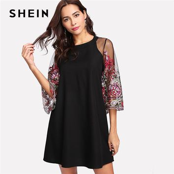 SHEIN Womans Floral Round Neck Shift Dress 2018 Spring Fall Short Dress Embroidery Mesh Sleeve Keyhole Button Back Dress