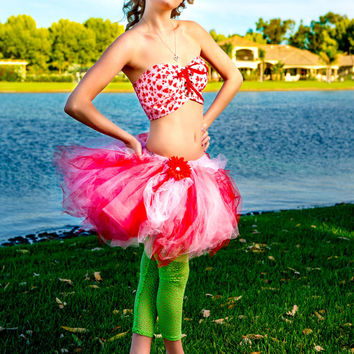 Corset, adult strawberry shortcake tutu dress, bandeau, pink red, pinup girl clothes, adult tutu