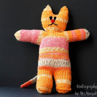 Vintage Style Toy Cat, handmade from eco friendly yarn, orange, pink and white, perfect stocking stuffer, easter, holiday gift for kids