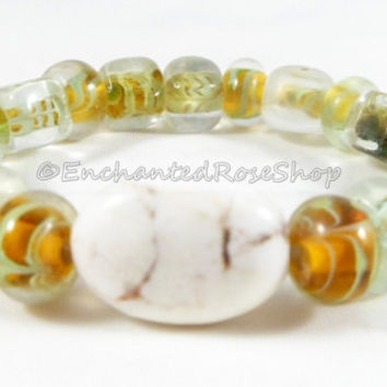 White Jasper Cabochon Lampwork Bracelet, Boho Chic Glass Bracelet, Womens Jewelry, Unique Bracelet, Statement Bracelet, Gift for Her