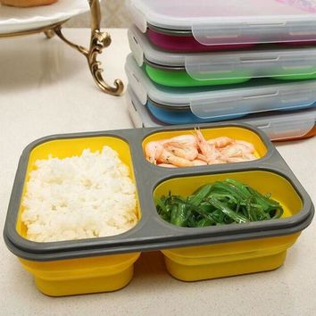 VONC1Y 1100ml Silicone Collapsible Portable Lunch Box Bowl Bento Boxes Folding Food Storage Container Lunchbox Eco-Friendly