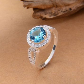 ICIKIX3 PRETTY 925 Silver Round CUT Blue Jewelry Rhinestone Aquamarine & topaz Wedding Ring sz 6/7/8/9 = 1932551876
