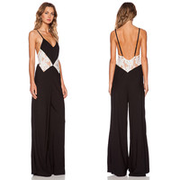 Black Strappy Jumpsuit with Adjustable Strap Lace Top