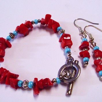 Natural Red Coral Chip Blue Accent Bracelet and Earring Set