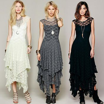 5 Color Boho People hippie Style Asymmetrical embroidery Sheer lace dresses double layered ruffled trimming low V-back No lining