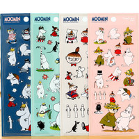 1Sheet Cute Moomin Diary Sticker Scrapbook Decoration PVC Stationery DIY Stickers School Office Supply H1049